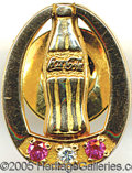 Advertising:Soda Items, 10K COCA COLA SERVICE PIN. Wonderful condition and marked 10K go...