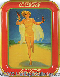 1937 COCA COLA SERVING TRAY GIRL ON THE BEACH. P Beautiful and excellent condition. This 1937 Coca Cola serving tray was...