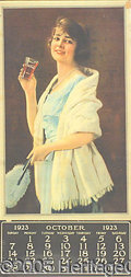 Advertising:Soda Items, 1923 GIRL WITH GLASS COCA COLA CALENDAR. One distinct area of...