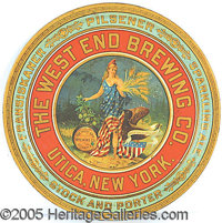 RARE WEST END BREWING CO. PRE PROHIBITION ADVERTISING TRAY. P B Very rare indeed is this graphic pre-prohibition adverti...
