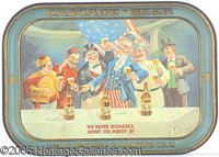 UNION BREWING CASCADES BEER UNCLE SAM PRE-PROHIBITION TRAY. P B Nothing can match the color and imaginative content of t...
