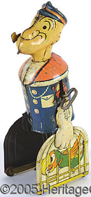 RARE WALKING POPEYE. Rare Walking Popeye with parrot in cage. This rare version of the Popeye walker stands ap...