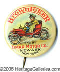 Advertising:Pocket Mirrors & Pinbacks, OMAR MOTOR CAR ADVERTISING PIN COLORFUL AND CLASSIC. One of the ...