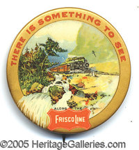 FRISCO LINES RAILROAD ADVERTISING PIN. P Excellent condition celluloid advertising pin. Great color advertising the scen...