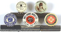 5 DIFFERENT ADVERTISING CELLULOID BILL CLIPS. Collection of 5 different celluloid top advertising bill clips....