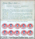 Advertising:Pocket Mirrors & Pinbacks, RARE PLUCKY LINDY SALES CARD WITH ORIGINAL ADVERTISING BUTTONS. ...