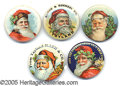 Advertising:Pocket Mirrors & Pinbacks, GROUP LOT OF VINTAGE ADVERTISING SANTA BUTTONS. If you are a Chi...