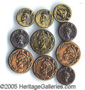 Entertainment Collectibles:Theatre, SARAH BERNHARDT BUTTONS. Group of ten brass clothing buttons ...