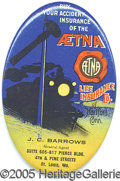 Advertising:Pocket Mirrors & Pinbacks, GRAPHIC TRAIN ADVERTISING POCKET MIRROR AETNA INSURANCE. Excelle...