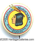 Advertising:Pocket Mirrors & Pinbacks, CLASSIC INDIAN MOTORCYCLE ADVERTISING PIN. Made by the Whitehead...