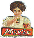 Advertising:Soda Items, DIE-CUT TIN LITHO MOXIE ADVERTISING LADY. Period turn of the cen...