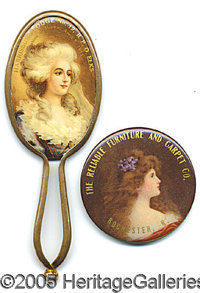 TWO DIFFERENT PRETTY GIRL ADVERTISING POCKET MIRRORS. Two different celluloid advertising picket mirrors. One...