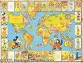 Entertainment Collectibles:Comic Character, MICKEY MOUSE GLOBE TROTTER BREAD PREMIUM MAP. Exceptionally hard...