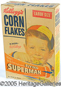 Entertainment Collectibles:Comic Character, KELLOGG'S CORN FLAKES BOX OFFERING FLYING SUPERMAN PREMIUM-ROCKW...