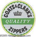 Advertising:Signs, PORCELAIN SIGN COATS & CLARK'S ZIPPERS. Different porcel...