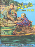 Advertising:Breweriana, 1940'S STROH'S ADVERTISING BEER SIGN MEN FISHING. Full color ...