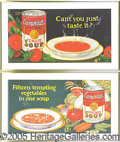 Advertising:Signs, (2) GRAPHIC CAMPBELL'S SOUP TROLLEY CAR SIGNS. Nice pair of v...