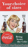 Advertising:Soda Items, 1950'S STYLE COCA COLA PAPER SIGN. Excellent condition and bold ...