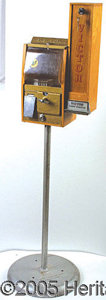"Antiques:Candy Containers, BABY GRAND GUM MACHINE & VICTOR CARD DISPENSER. Overall, 47"" hig..."