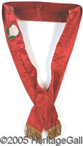 Political:Miscellaneous Political, KKK RED SILK SASH. The Klansmen's uniforms are very hard to find...