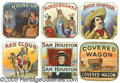Antique Stone Lithography:Cigar Label Art, WESTERN-THEMED TOBACCO END LABELS. Six beautifully embossed &...
