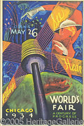 General Historic Events:World Fairs, CLASSIC 1934 WORLD'S FAIR POSTER. Classic 1934 Chicago World's F...