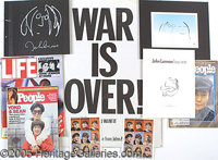 "JOHN LENNON MEMORABILIA LOT. P Eclectic lot of John Lennon memorabilia including an 18""X24"" 'War is Over!' pos..."