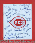 Miscellaneous, 1976 CINCINATTI REDS TEAM AUTOGRAPHED CLOTH W/ 28 SIGNATURES.