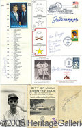 Miscellaneous, LOT OF 9 AUTOGRAPHED JOE & VINCE DIMAGGIO ITEMS. Here wehave...