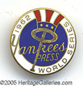 Miscellaneous, 1962 YANKEES WORLD SERIES PRESS PIN. This fine example of the...