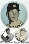 Miscellaneous, MICKEY MANTLE PIN LOT OF 3. Here we have a nice assortment of Mi...