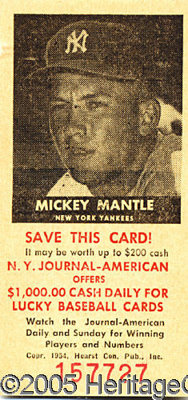 1954 NY JOURNAL AMERICAN MICKEY MANTLE. This is a beautiful 1954 Journal American of Mickey Mantle. It has a NM appearan...