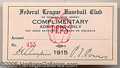 Miscellaneous, 1915 NEWARK FEDERAL LEAGUE COMPLIMENTARY PASS. This pass to a 19...