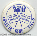 Miscellaneous, 1955 WORLD SERIES PIN. Every enthusiast of Brooklyn Dodger artif...