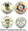 Miscellaneous, FOUR BABE RUTH LAPEL BUTTONS. If we factor away opposing pitcher...