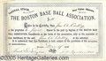 Miscellaneous, THE RED STOCKINGS STOCK CERTIFICATE. Most baseball artifacts of ...