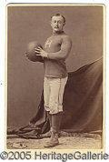 Miscellaneous, HARVARD FOOTBALLER CABINET. In a carefully orchestrated studio p...