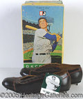 Miscellaneous, JOE DIMAGGIO BASEBALL SHOES. Complete box with shoes and card...