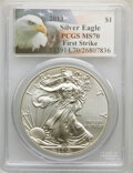 2013 $1 Silver Eagle, First Strike MS70 PCGS. This lot will also included the following: 2013-W $1 Silver Eagle, First S...