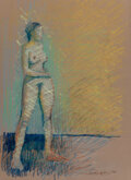 Mainstream Illustration, Sean Earley (American, 1953-1992). Nude study, 1981. Pastel and chalk on card. 20 x 15 inches (50.8 x 38.1 cm) . Signed ...