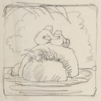 Arnold Lobel (American, 1933-1987) They Were Two Close Friends Sitting Alone Together, sketch for Days with Fro