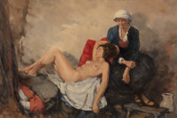E. Wobek (German, 20th century) Getting Old is Not Easy for the Weak Oil on canvas 23-3/4 x 35-1/