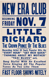 """Little Richard 1952 """"Crown Prince of the Blues"""" Earliest Known Concert Poster"""