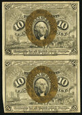 Fr. 1245 10¢ Second Issue Uncut Vertical Pair Very Fine