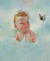Florence A. Kroger (American, 1897-1980) Baby and Butterfly, calendar, 1943 Oil on canvas 42 x 20