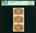 Fractional Currency:Second Issue, Fr. 1286 Milton 2R25.3h 25¢ Second Issue Vertical Strip of Three Inverted Back Engraving PCGS Apparent Choice About New 55....