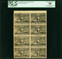 Milton 2E50F.?? 50¢ Second Issue Olier Paper Block of Eight PCGS Choice About New 58