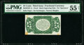 Fractional Currency:Third Issue, Milton 3P25F.1e 25¢ Third Issue PMG About Uncirculated 55 Net.. ...