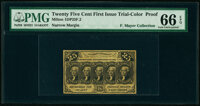 Milton 1DP25F.2 25¢ First Issue Off-Color Proof PMG Gem Uncirculated 66 EPQ