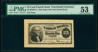25¢ Fourth Issue Face Proof Milton 4P25F.1a PMG About Uncirculated 53